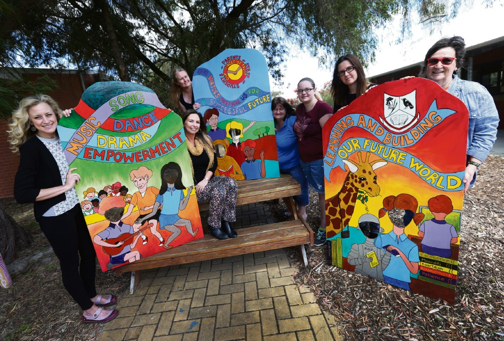 Elisa Williams, Leigh Jones, Leanne Hampson, Margaret Best with Courtney Best-Read, Kayt Every and Charlotte O'Shea have taken part in the Parent Community Art Project in conjunction with the Song Room program at Kewdale Primary School. Picture: Matt Jelonek