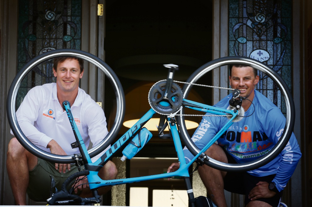 MelanomaWA board member Steve Choate and chief executive Clint Heal are taking part in the Busselton Ironman to raise money for MelanomaWA. Picture: Andrew Ritchie