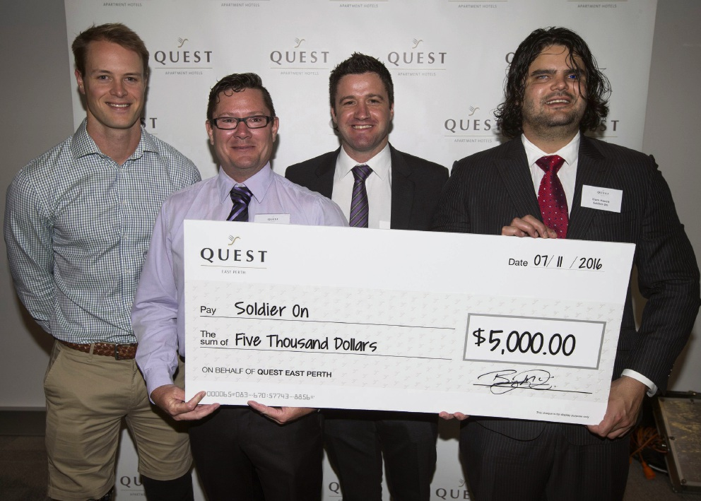 Paralympian gold medallist Curtis McGrath, Soldier On state manager Ray Wilson, Quest East Perth franchisee Byron McDonald, and Liam Haven from Soldier On.