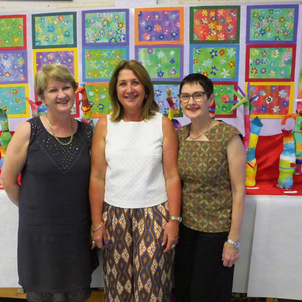 Principal Roslyn Kay, Fiona Willis and UWA  curator Dr Janice Lally.