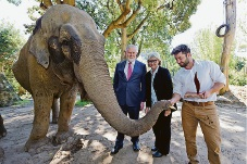 Perth Zoo elepahnt Trisha, Waste Authority's Glen McLeod, Perth Zoo chief executive Susan Hunt and Perth Zoo environmental sustainability co-ordinator Dan Baker. Picture: Jon Hewson