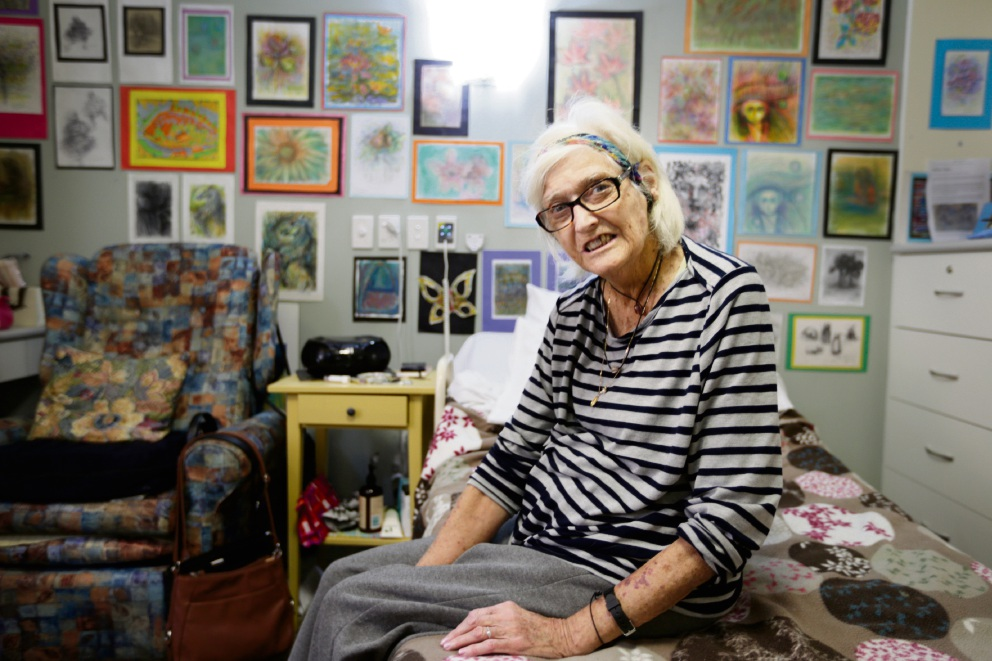 77-year-old Mary Lou Dudle has been creating art since she was 15 but an accident left her housebound so she began sketching people and scenery. Picture: Andrew Ritchie