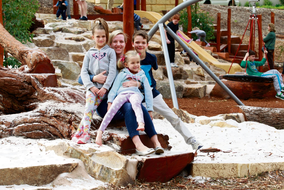 Bayswater Deputy Mayor Stephanie Coates at the new nature playground with her niece Amy Dancewicz and children Claudia (7), Oliver (9) and Esther (5). Picture: Marie Nirme        d456818