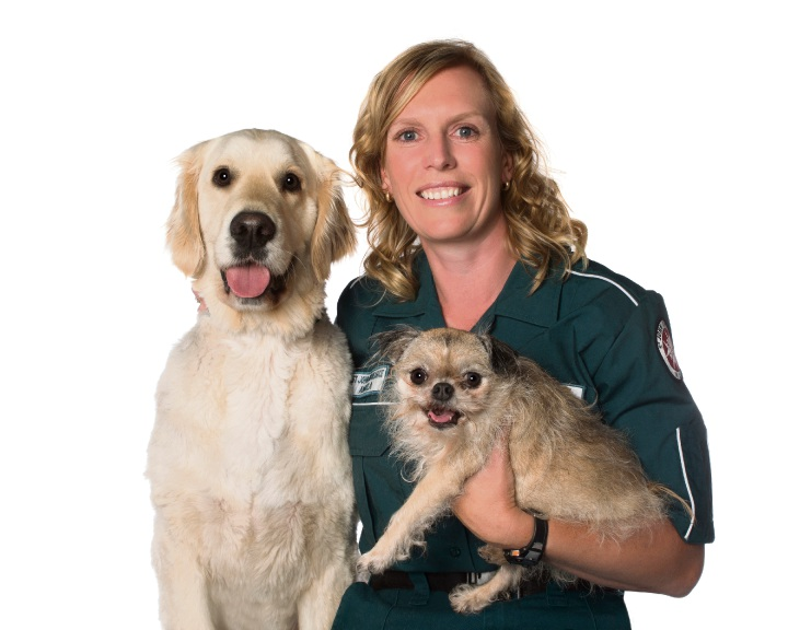 Paramedic Angela Wright and rescue animals Perry and Moggy. Photo: Alex Cearns, Houndstooth Studio