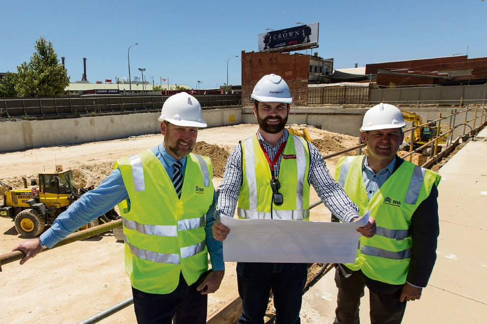 DHA senior development manager Cade Taylor, Georgiou senior project manager Michael Harvey and City of Fremantle Mayor Brad Pettitt. Picture: Will Russell
