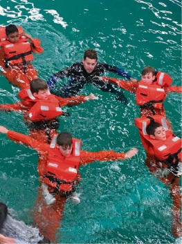 Sacred Heart College students doing sea survival training.