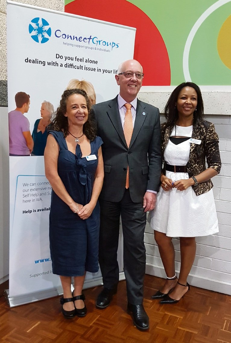 ConnectGroups CEO Antonella Segre, Community Services Minister Paul Miles and ConnectGroups chairwoman Pearl Proud.