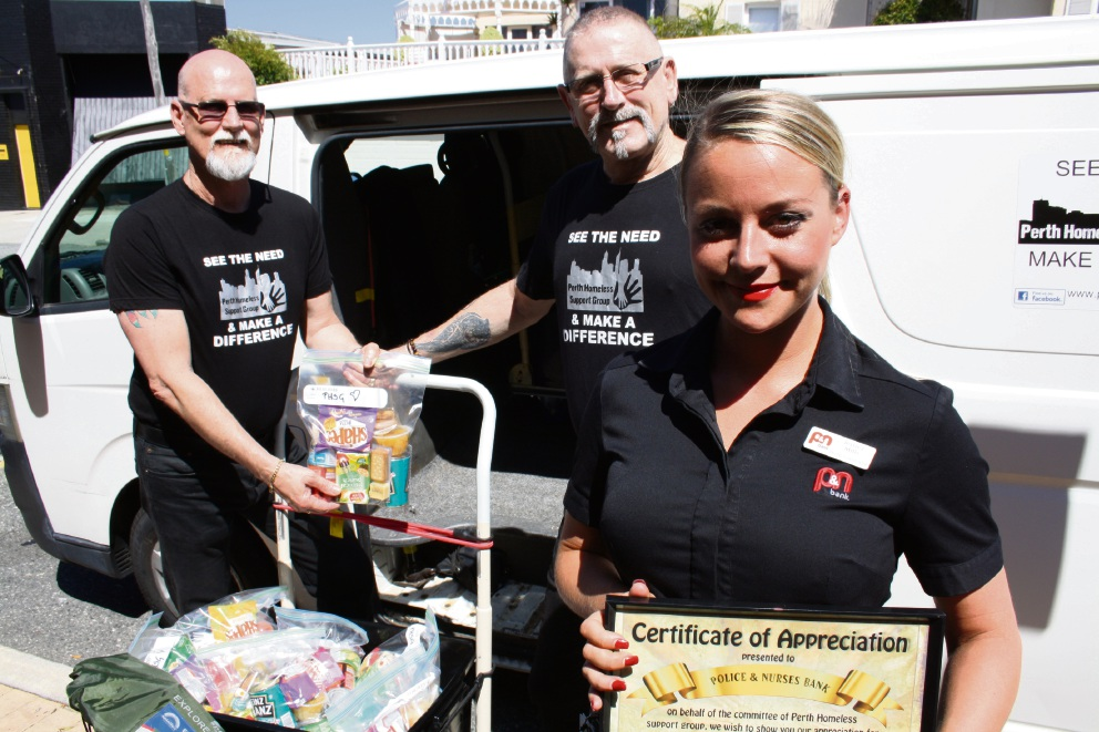 Perth Homeless Support Group president Ron Reid, treasurer Michael Edwards, and P&N Perth manager Jessica Mills. Picture: Giovanni Torre