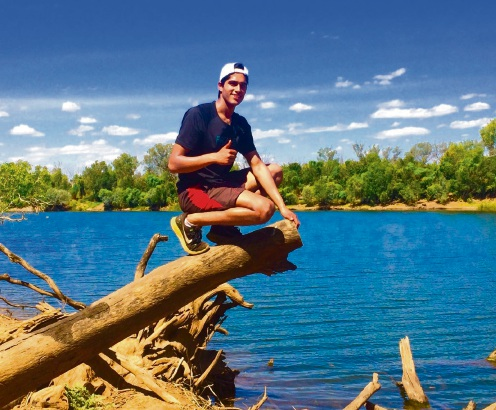 Allister Gomes visits Geikie Gorge during his Kimberley internship.