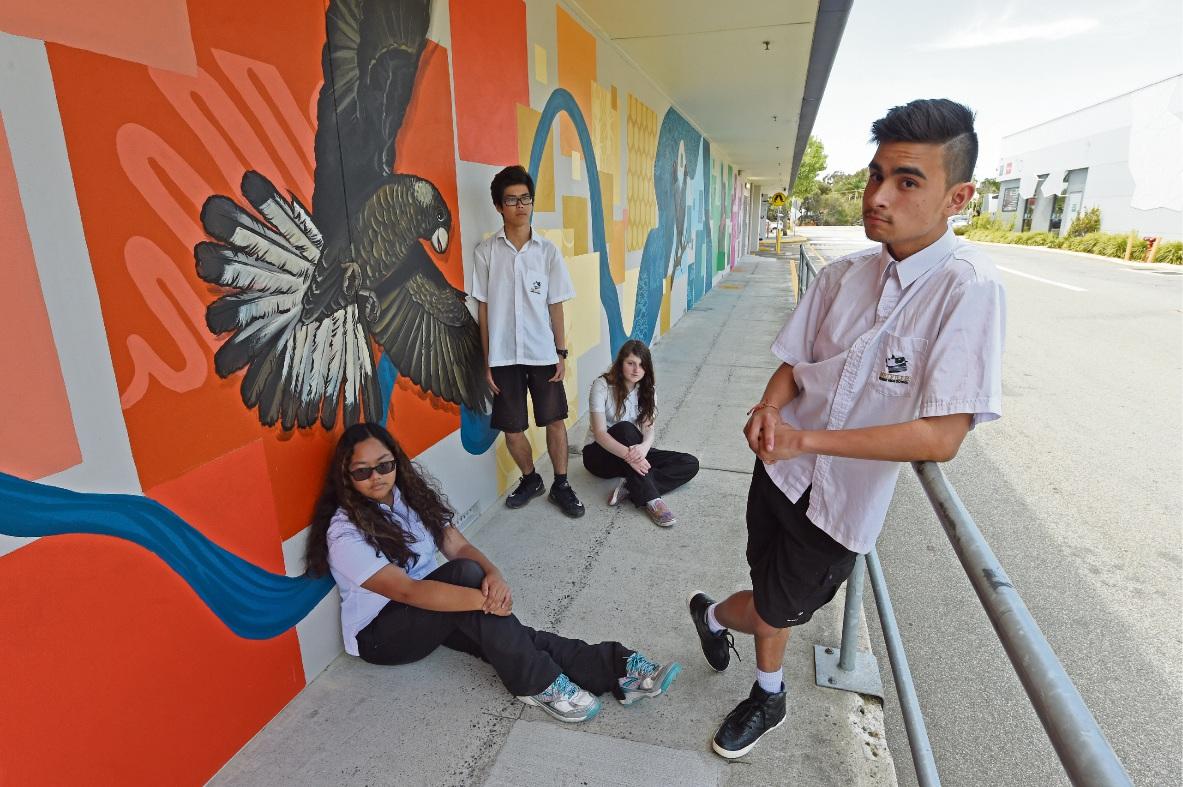 Melville SHS Year 10 students Alliyah Rivera, Eric Ma, Tedra Morgan-Hind and Roydon Elliott. Picture: Jon Hewson