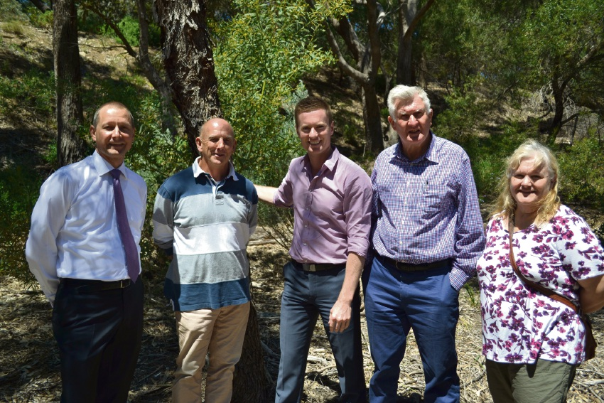 Liberal candidate for Bicton Matt Taylor, Peter Neesham, Environment Minister Albert Jacob, Mike Nichol and Kay Howard.
