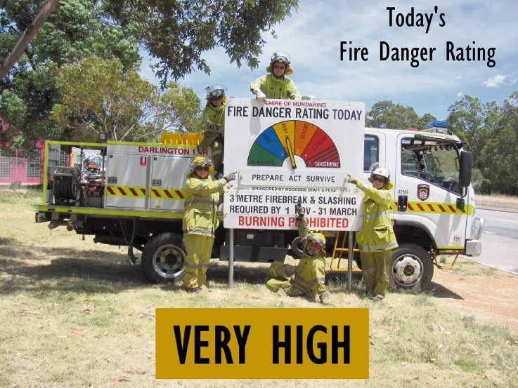 Darlington Volunteer Bushfire Brigade with today's fire warning for the Perth Hills. Picture: Facebook