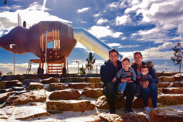 The Glisenti family, pictured at the $3.5 million Adventurescape playground, will soon be enjoying a relaxed lifestyle at Satterley Property Group's Austin Lakes estate.