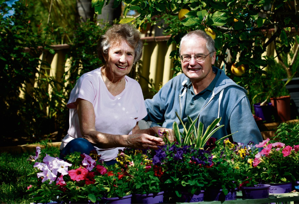 Rockingham Garden Club members Lorraine Olsen and Tony Lloyd with some of the plants that will be on display at the Hillman Hall.