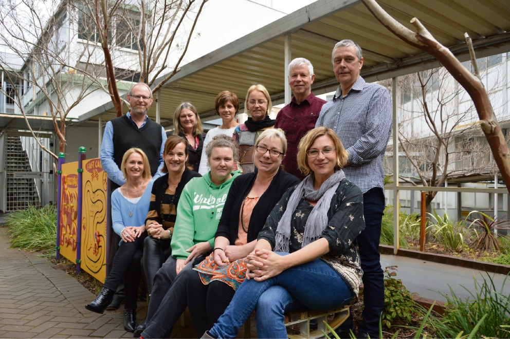 Carer Peer Support Network mentors Andy, Karen, Lucy, Richard, Gary, Maria, Nicky, Cassandra and Alison with EDP program manager Julie Potts and Carer Peer Support Network Project Officer Kathy Logie.