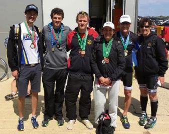 Rockingham Triathlon Club members Wade Adam, Shayne Dimmer, Dale Zabiela, Gloria Stewart, Steve Ware and Sandra Adam.