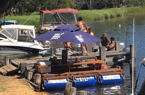 The floating picnic table. Source: Facebook.
