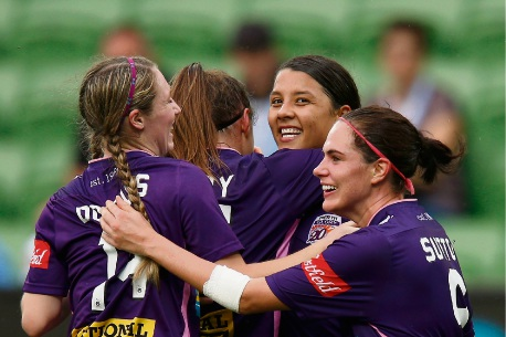 Samantha Kerr celebrates a goal with her Perth Glory teammates. Picture: Getty Images