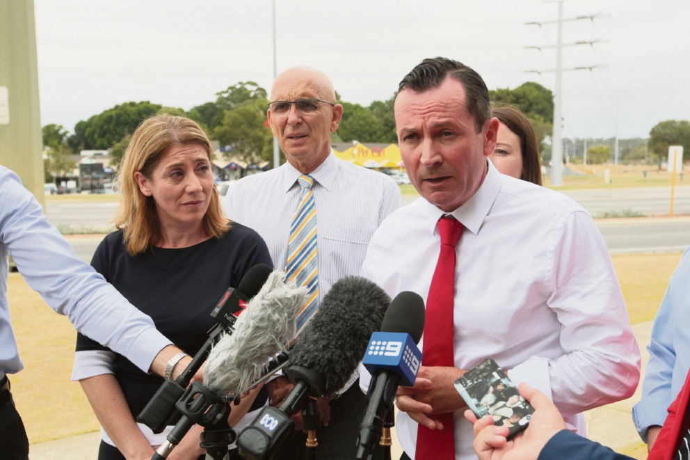Rita Scaffioti MLA, John Quigley MLA and State Opposition Leader Mark McGowan in Wanneroo. Picture: Bruce Hunt