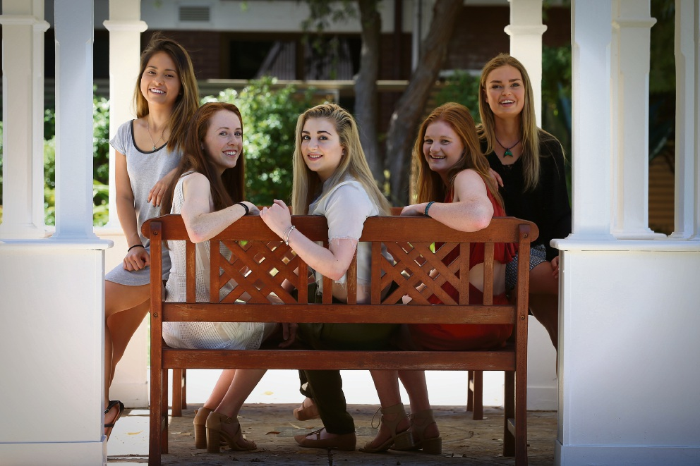 St Mary's Anglican Girls' School students Alexandra Tran (17, left), Maddie Wait (17), Hannah Mizzi (18), Sarah Barber (18) and Robyn Fairbairn (17) all won the WACE general exhibition award. Picture: Andrew Ritchie.