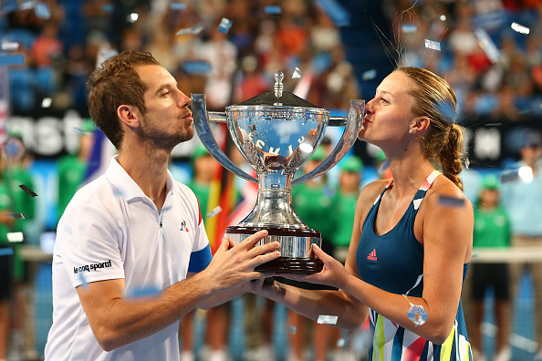 France's Richard Gasquet and Kristina Mladenovic celebrate their win after the 2017 Hopman Cup Final at Perth Arena. Picture: Paul Kane/Getty Images.