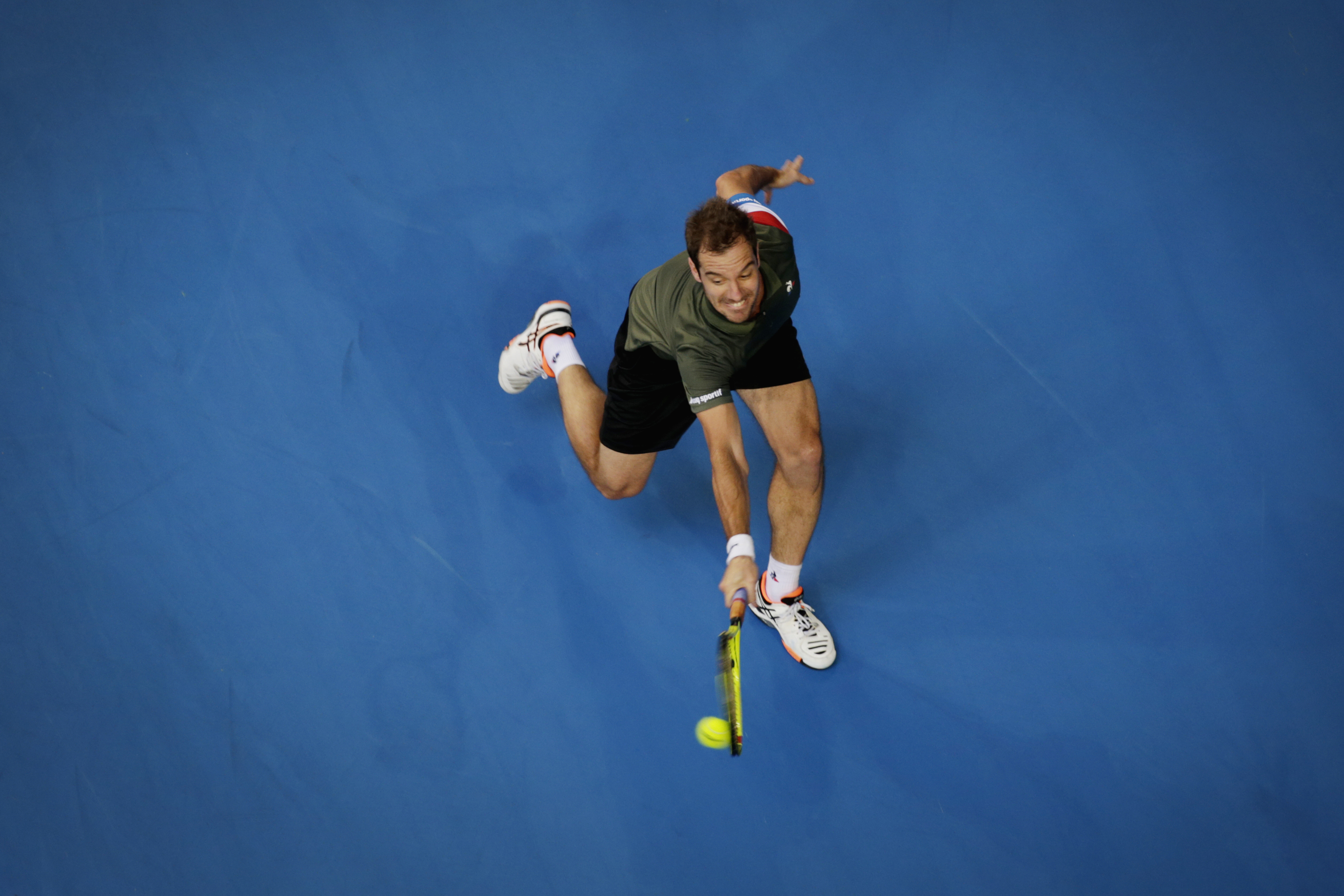 Pictured Richard Gasquet (France)  in the Hopman Cup final against Jack Sock (USA)