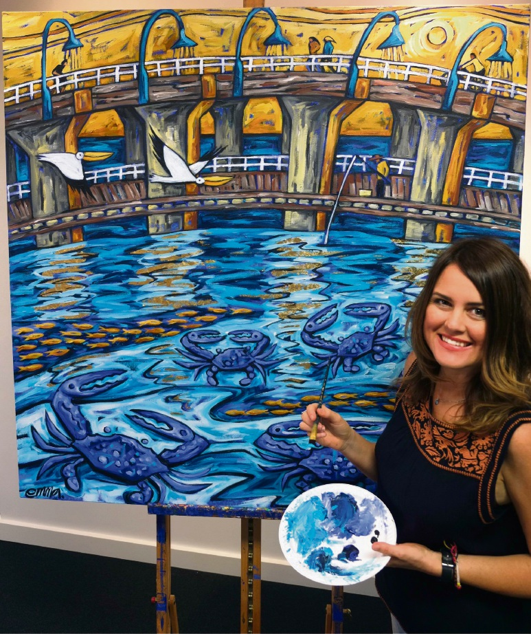 Emma Blyth with her painting of the Old Bridge.