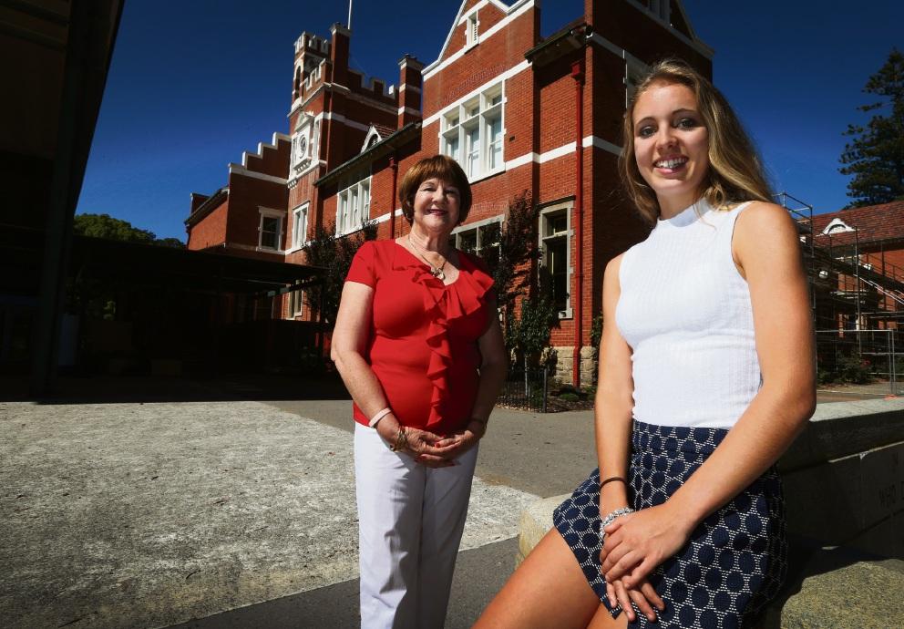 Perth Modern School principal Lois Joll with  Beazley Medal recipient Caitlin Revell. Picture: Matt Jelonek d463903