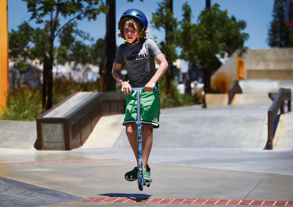 Luke, from Canada, at the Esplanade Youth Plaza Skate Park in Fremantle. Picture: Matt Jelonek