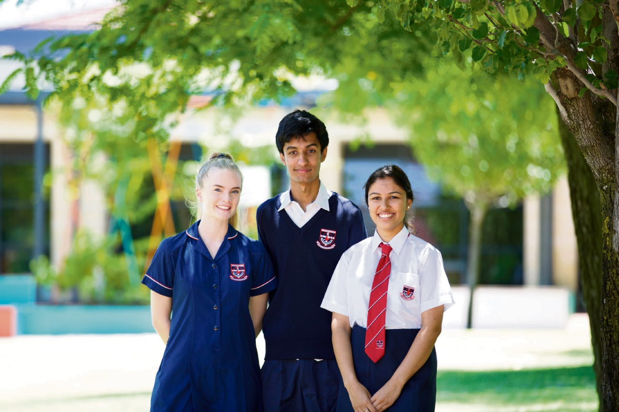High performing St Stephen's School students Yasmin Kirkham, Shreyan Dodhia and Ria Shah, who scored an ATAR above 95.