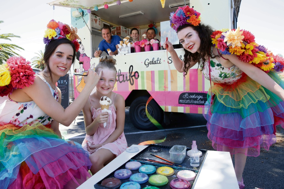 Fairy B with Scarlett Francis (8) and Fairy Maddie, with Miss Tartufo owner Marco De Campi, Felix Francis (10) and Aidan Campbell (10) in the background. Picture: Andrew Ritchie d463950