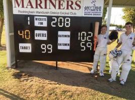 Mitchell Zadow and Teague Wyllie had a 152-run winning partnership for the Rockingham-Mandurah Under-13 team.