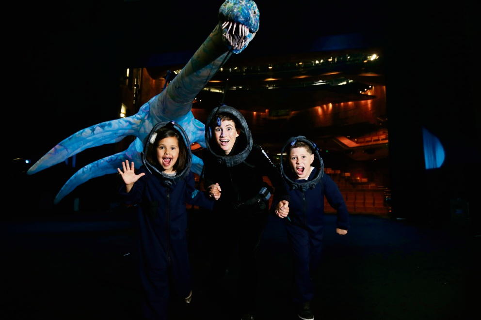 Catherine McNamara (The Marine Biologist) with Rio Nastasi (7) and Bon Nastasi (10) from Dianella at the State Theatre Centre where Erth's Prehistoric Aquarium is showing. Picture: Andrew Ritchie.