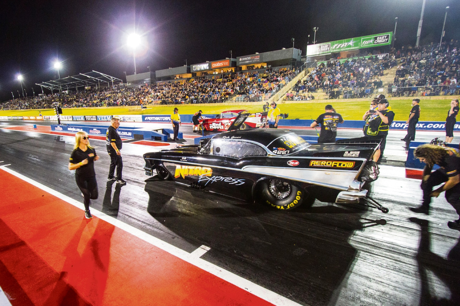 Rick Gauci in the Nitro Express Chev at the Perth Motorplex last week.