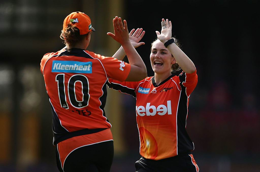 Heather Graham (right) celebrates a wicket during the most recent Perth Scorchers game. Picture: Getty Images