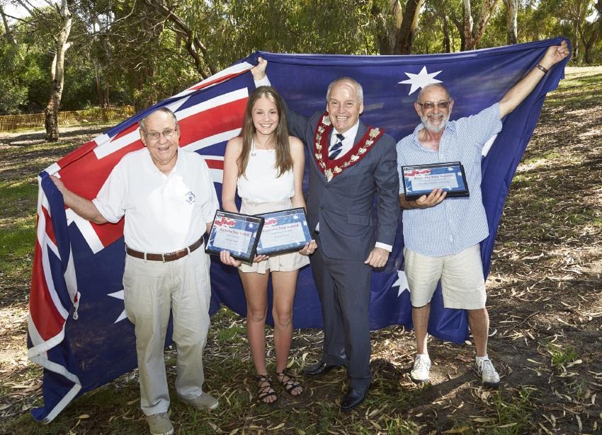 Mayor Russell Aubrey with 2016 Australia Day award winners Sydney Rowe, Kayla Ferraz and Barry Mendelawitz.