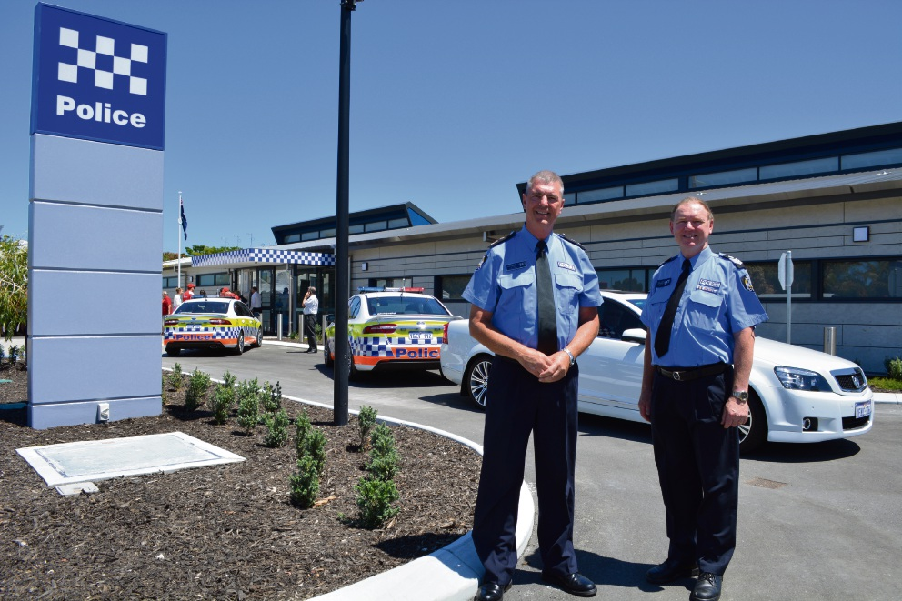 WA Police Commissioner Karl O'Callaghan and Ballajura police officer-in-charge Ian North outside the new police station. Picture: Kristie Lim. Below: How the Eastern Reporter reported on the push for the station.