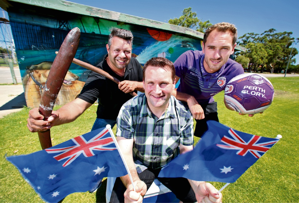 Event MC Phil Walleystack with Town of Bassendean Mayor John Gangell and Perth Glory captain Rostyn Griffiths preparing for Australia Day celebrations and fireworks at Ashfield Reserve.  Picture: David Baylis www.communitypix.com.au   d464017