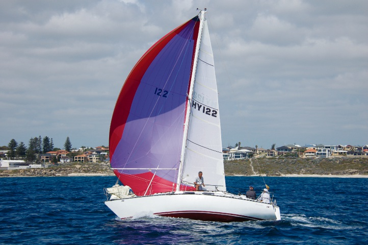 Pandora in full flight with Chris Grant at the helm off Hillarys last year.