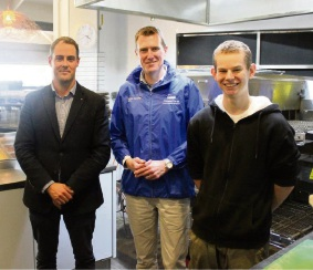 Mindarie Marina manager Andrew McGie, Pearce MHR Christian Porter and apprentice chef Seth Capon.