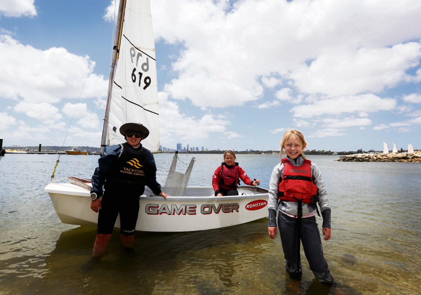 Finn Manning, Paige Durell and Ela Roodhouse from Geographe Bay Yacht Club.