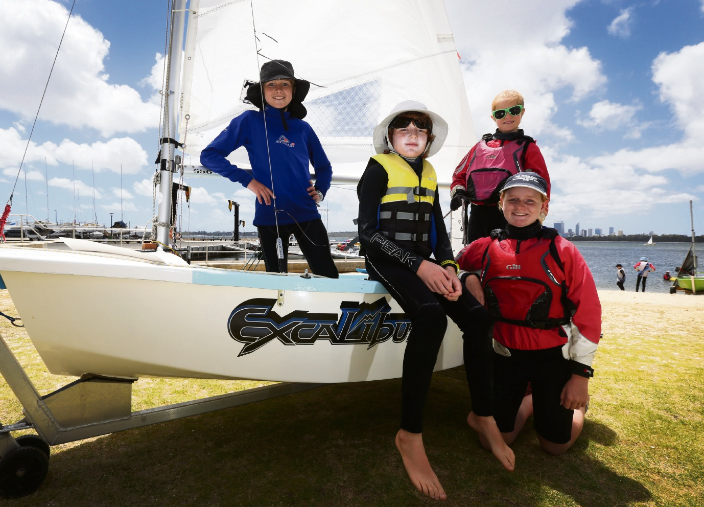 Achaius Hall, Jack Preston, Taya Weldon and Olivia Pidgeon from Geraldton Yacht Club. Pictures: Matt Jelonek   d463968