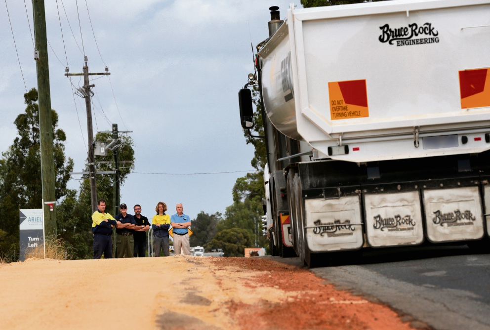 Residents Anthony Lumney, Murray Severn, Sylvain Haass, Matthew Campbell and Cr Rod Henderson are concerned about heavy trucks on their street. Picture: David Baylis         d464036