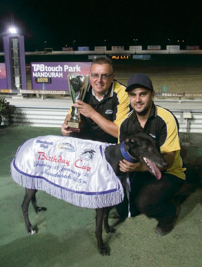 Trainer Chris Halse and Luke Townsend with Pepper Fire.