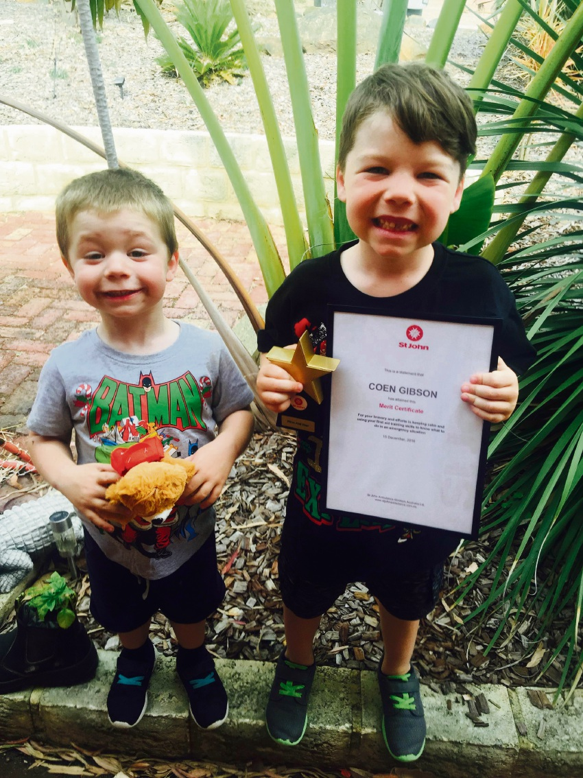 Merit award: Big brother Coen Gibson (right) saved his younger brother Ryder (left), who was choking, using the Heimlich manoeuvre which he learned at school.