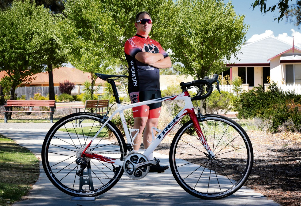 Former soldier Chris Coote is heading to Adelaide for a ride to raise awareness for service men and women.  Picture: David Baylis        www.communitypix.com.au   d464059