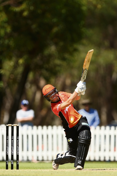 Elyse Villani hits out during the Women's Big Bash League match between the Melbourne Stars and the Perth Scorchers. Picture: Getty Images