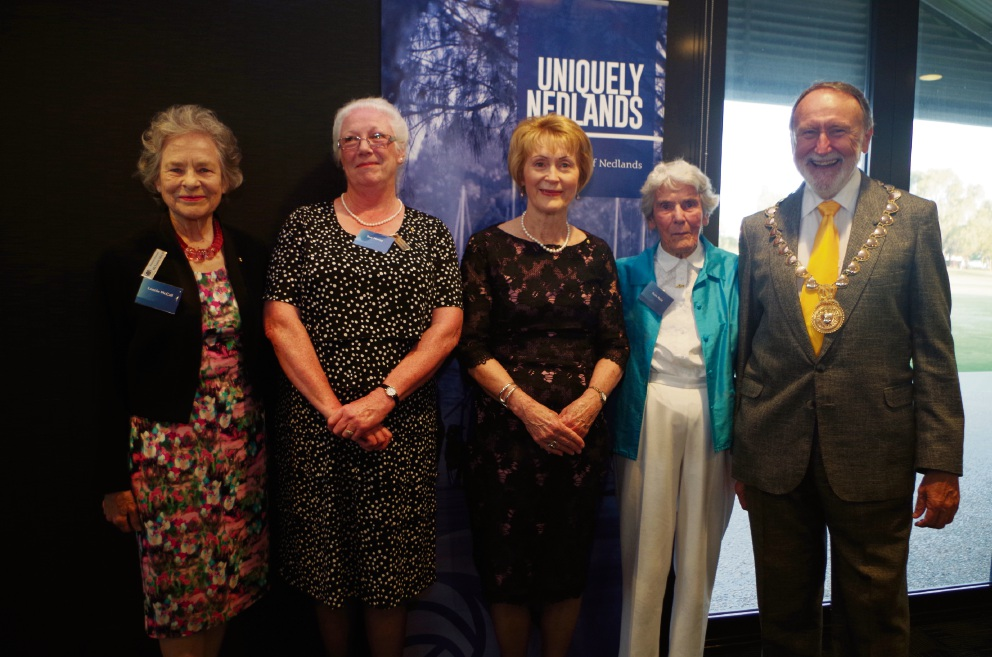 Mary McCall, Sue Morey, Governor Kerry Sanderson, Ruth Reid and Mayor Max Hipkins at the ceremony to appoint the Freemen of the City of Nedlands.