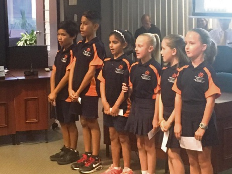 Meadow Springs students Ryder, Crockett, Jamison, Isabella, Danica and Zain perform for the councillors.