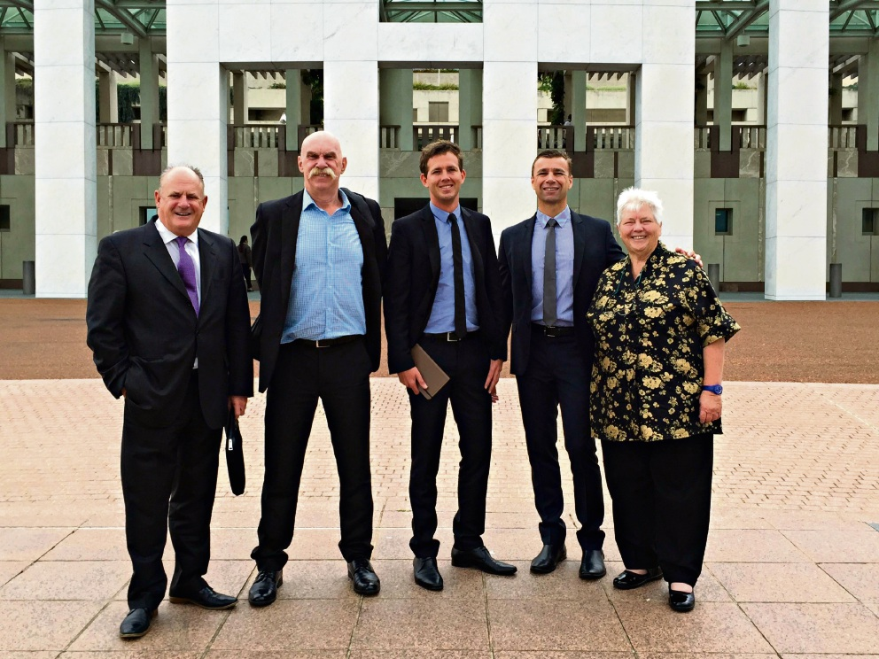Paul Fitzpatrick, John Lambrecht, Rhys Williams, Andrew Ward and Paddi Creevey in Canberra.